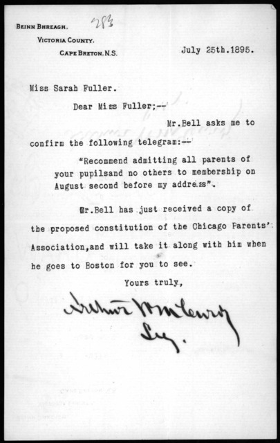 Letter from Arthur McCurdy to Sarah Fuller, July 25, 1895