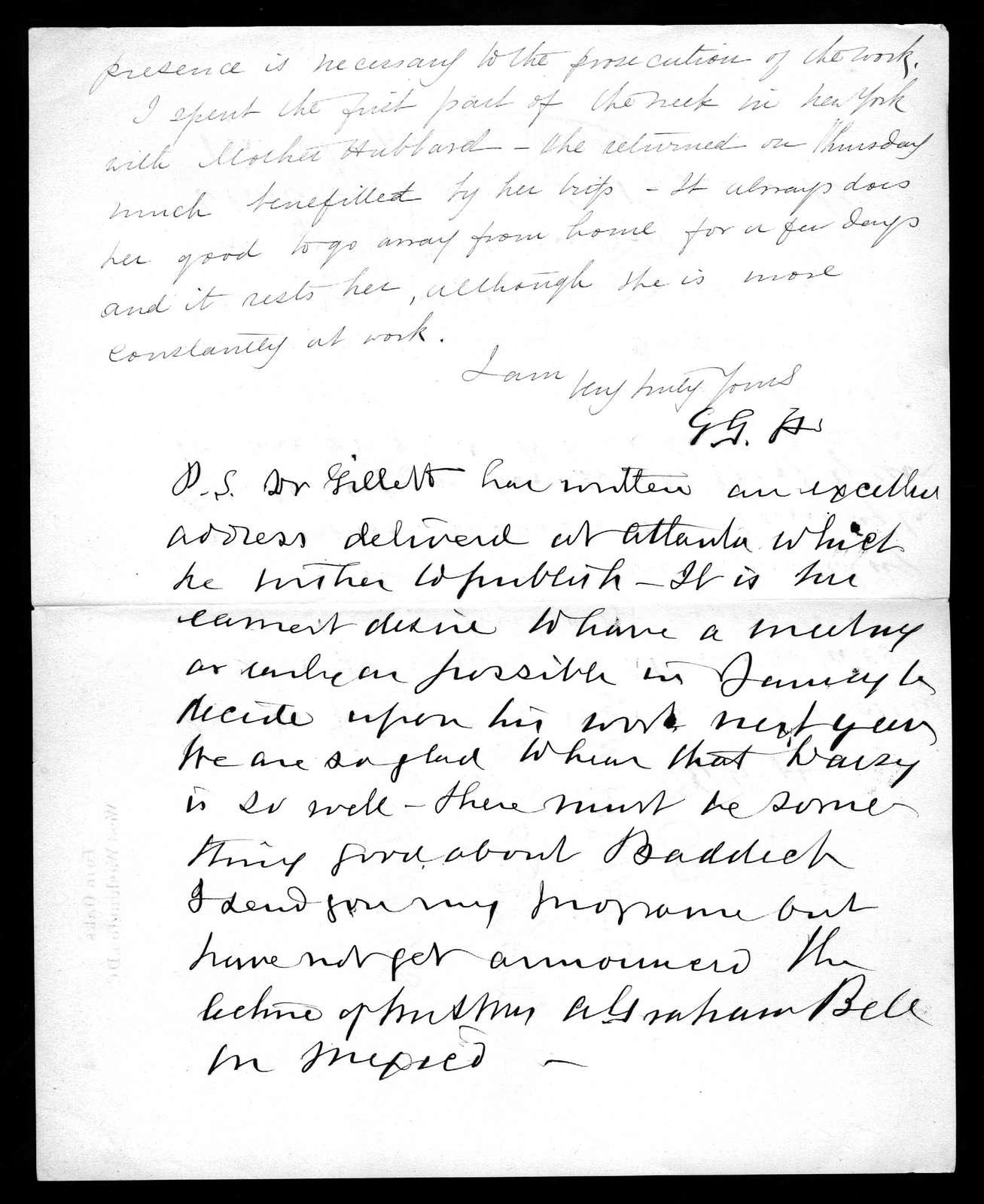 Letter from Gardiner Greene Hubbard to Alexander Graham Bell, December 7, 1895