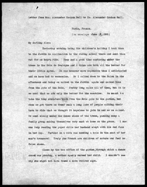 Letter from Mabel Hubbard Bell to Alexander Graham Bell, June 17, 1895