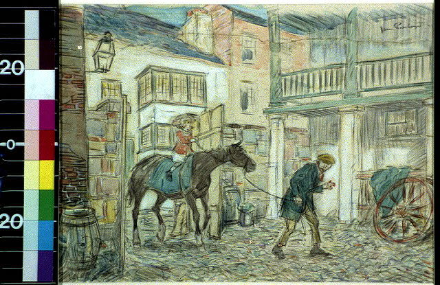 [Man leading horse ridden by a child into a courtyard]