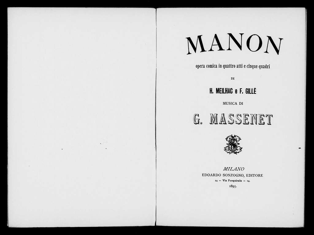 Manon. Libretto. Italian