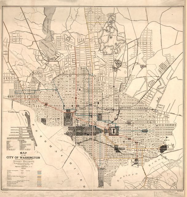 Map of the city of Washington showing the locations of street railways in operation and chartered Jan. 1, 1895 : to accompany the annual report of the Engineer Department, D.C. /