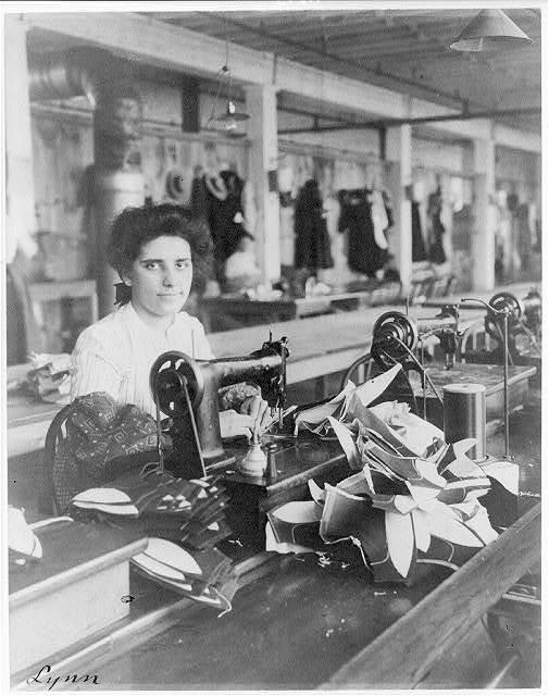 [Massachusetts. Lynn. shoe factories, 1895?: a lining stitcher (woman) at work]