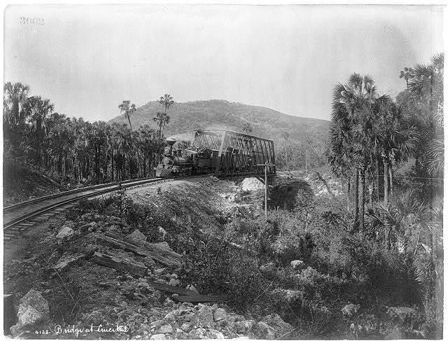 [Mexico - Railroad scenes: Train crossing bridge at Crucitas]
