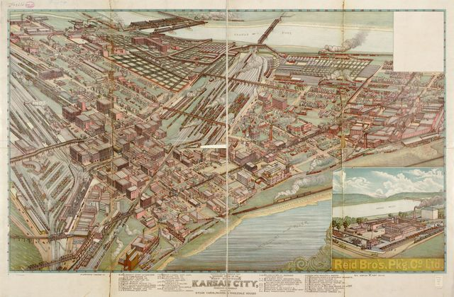 Panoramic view of the west bottoms, Kansas City, Missouri & Kansas showing stock yards, packing & wholesale houses.