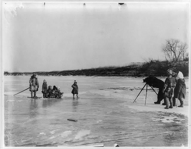 [Photographing Goldi shaman on the Amur River, north of Khabarovsk]
