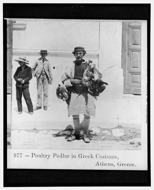Poultry pedlar in Greek costume, Athens, Greece