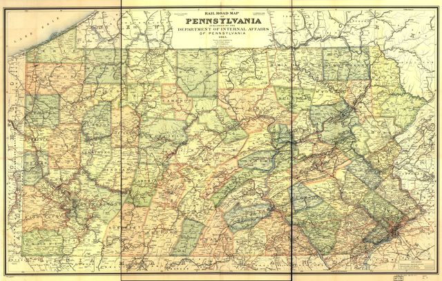 Rail road map of Pennsylvania published by the Department of Internal Affairs of Pennsylvania, 1895.