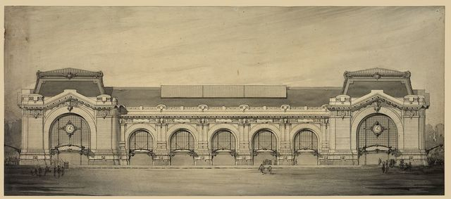 [Railway station, possibly Gare d'Orsay, Paris, France. Elevation. Rendering]