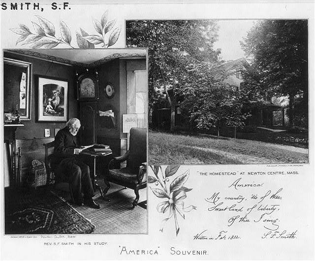 "[Samuel Francis Smith, 1808-1895, full-length portrait, seated at a table in his study, facing right, and exterior view of ""The Homestead"" at Newton Center, Massachusetts]"