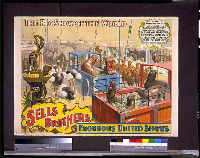 Sells Brothers enormous united shows. ... Correct interior view of the great five continent menagerie ...