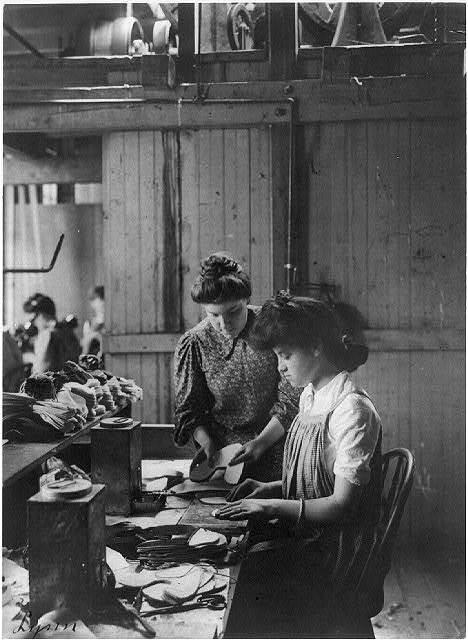 [Shoe factories, Lynn, Mass.: 2 women working in shoe factory]