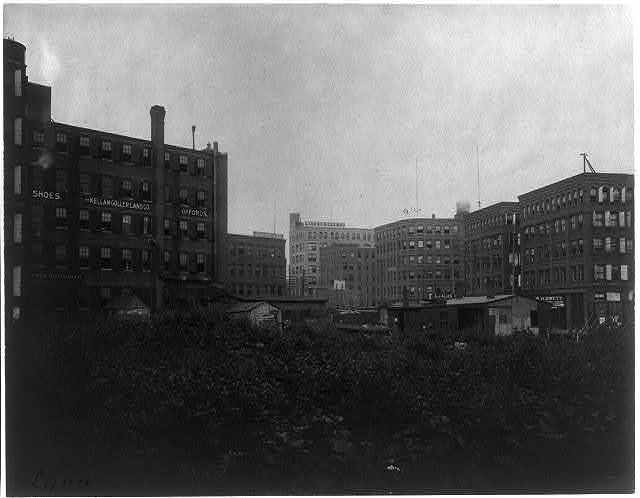 [Shoe factories, Lynn, Mass.: exterior view of shoe factories and other buildings]