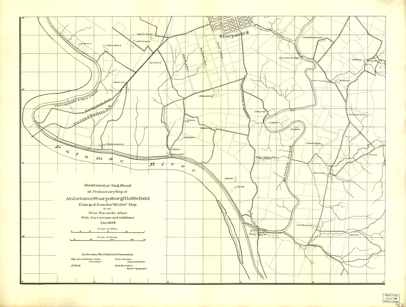 """Southwest, or no. 2, sheet of preliminary map of Antietam (Sharpsburg) battlefield. Enlarged from """"Michler"""" map of the war records atlas with corrections and additions"""