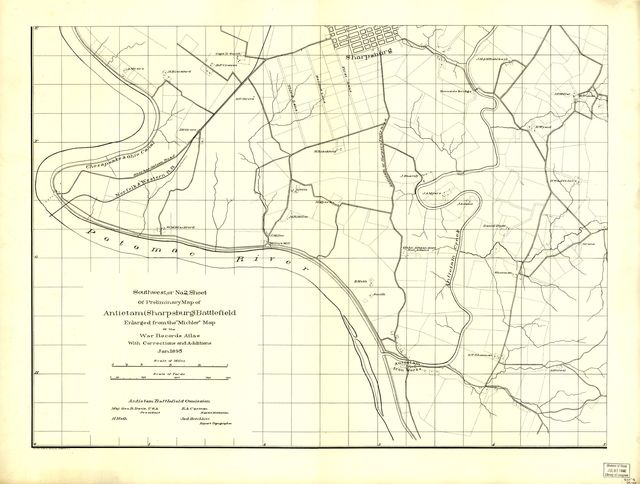 "Southwest, or no. 2, sheet of preliminary map of Antietam (Sharpsburg) battlefield. Enlarged from ""Michler"" map of the war records atlas with corrections and additions"