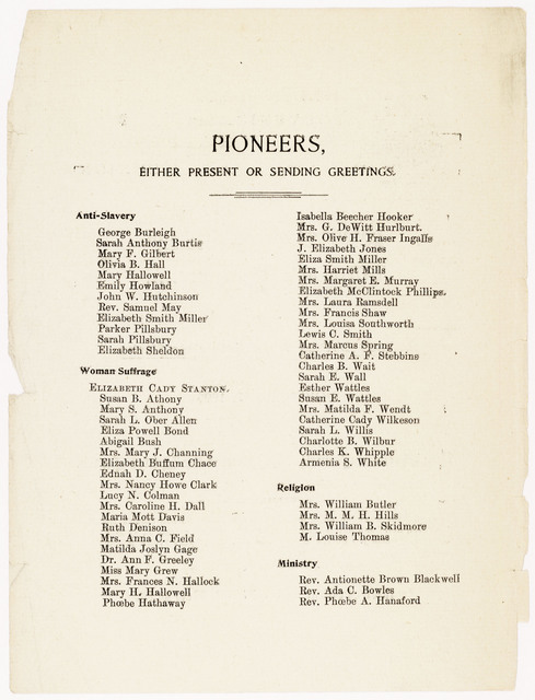 Souvenir of the Reunion of the Pioneers and Friends of Woman's Progress by National Council of Women Celebrating Elizabeth Cady Stanton's Eightieth Birthday