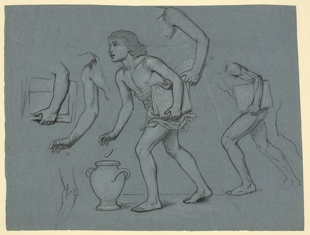 [Study sketch showing details of Good Administration panel of mural titled Government, located at entrance to the main reading room of the Jefferson Building, Library of Congress. Studies for the arm, body, books, and urn of male figure representing an educated electorate.]