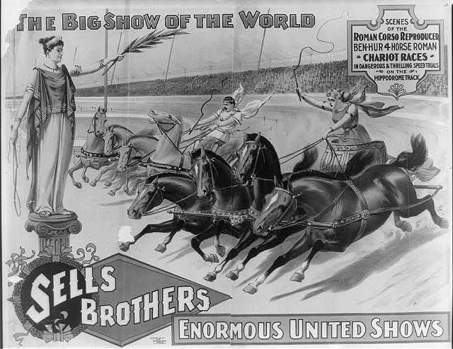 The big show of the world--Sells Brothers enormous united shows--Scenes of the Roman corso reproduced ...