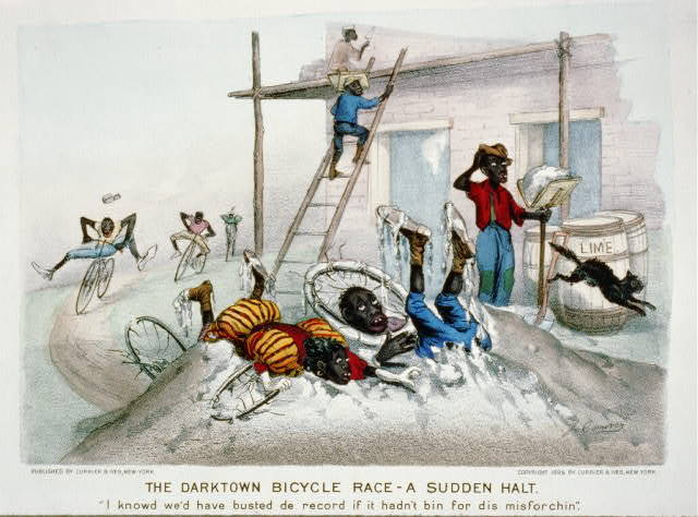 """The darktown bicycle race-a sudden halt: """"I knowd we'd have busted de record if it hadn't bin for dis misforchin"""""""