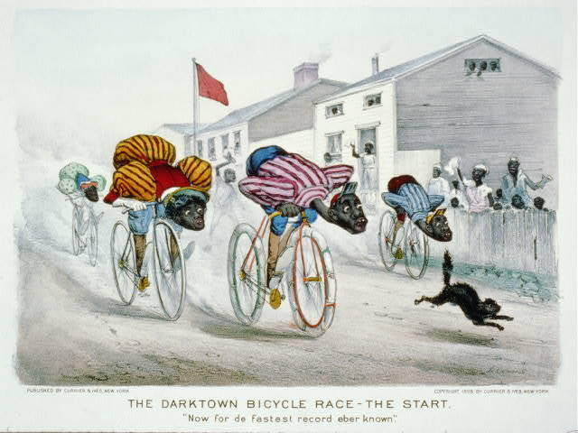 "The darktown bicycle race-the start: ""Now for de fastest record eber known"""