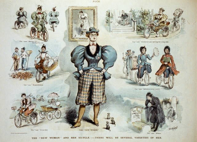 """The """"new woman"""" and her bicycle - there will be several varieties of her / F. Opper."""