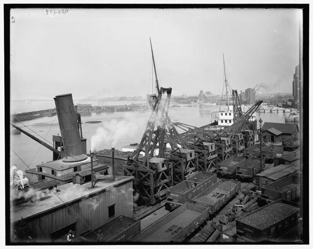 [Thornberger hoist unloading ore, Lackawanna ore docks, Buffalo, N.Y.]
