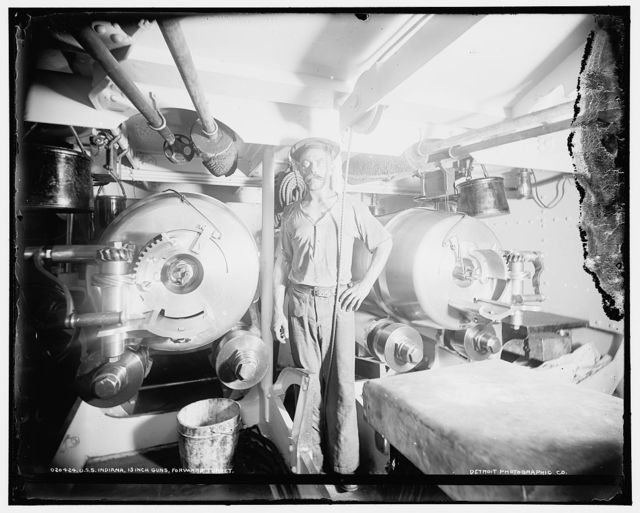U.S.S. Indiana, 13 inch guns, forward turret