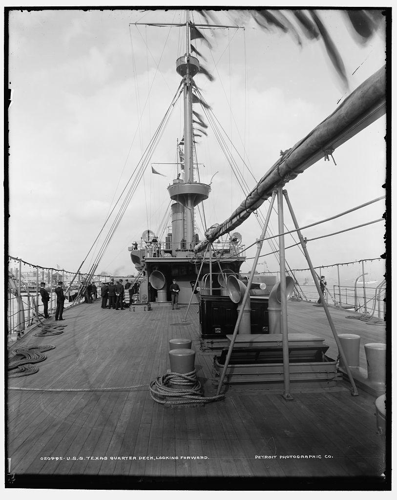U.S.S. Texas, quarter deck, looking forward