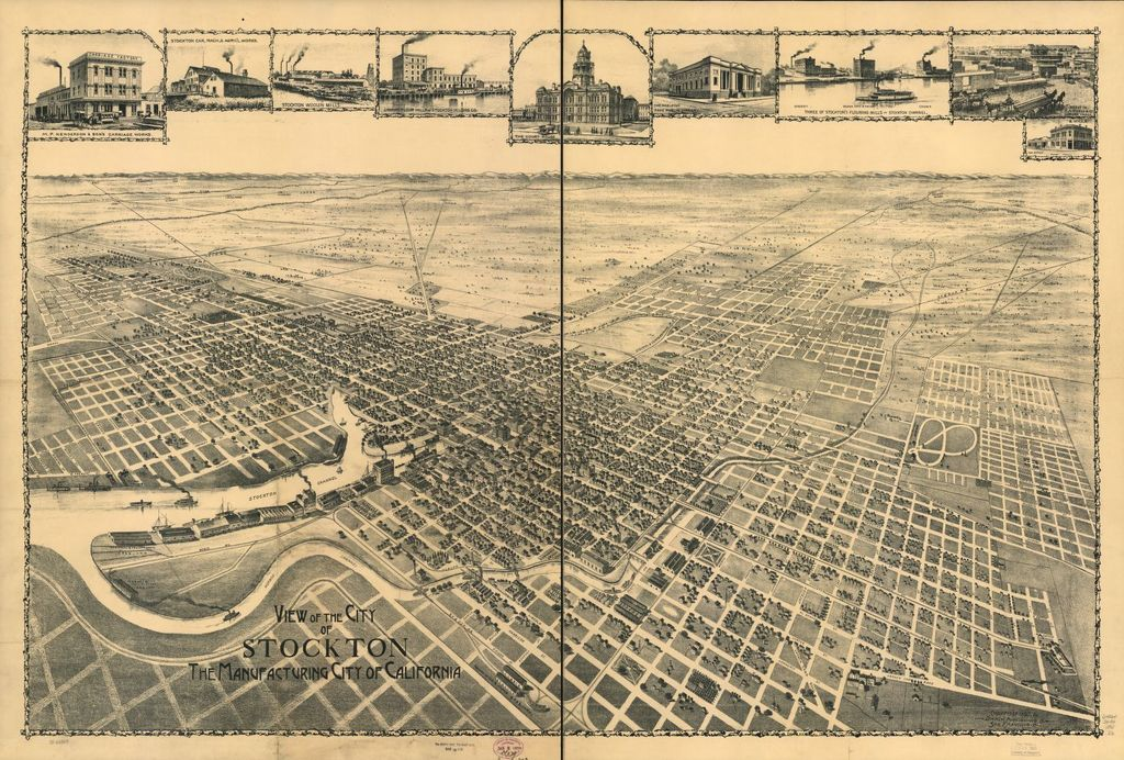 View of city of Stockton, the Manufacturing City of California.