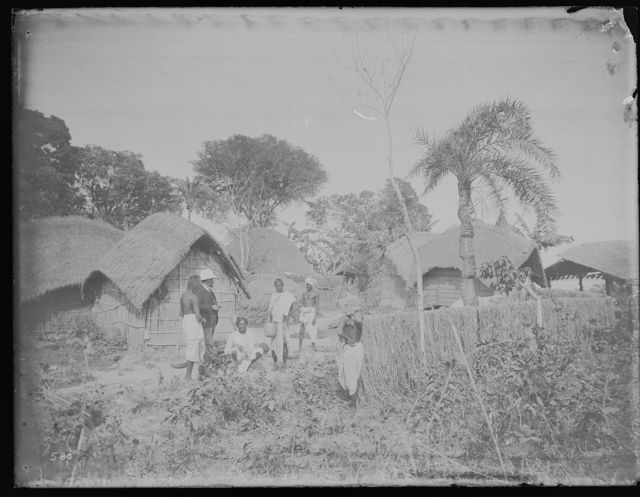 Village with thatched huts near junction of Ganges and Brahmaputra Rivers