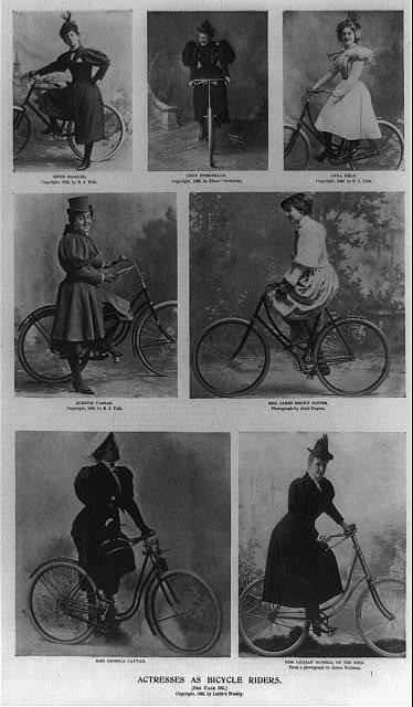 Actresses as bicycle riders [7 illustrations of actresses with bicycles: 1. Effie Ellsler; 2. Cissy Fitzgerald; 3. Anna Held; 4. Queenie Vassar; 5. Mrs. James Brown Potter; 6. Miss Georgia Cayvan; 7. Miss Lillian Russell]
