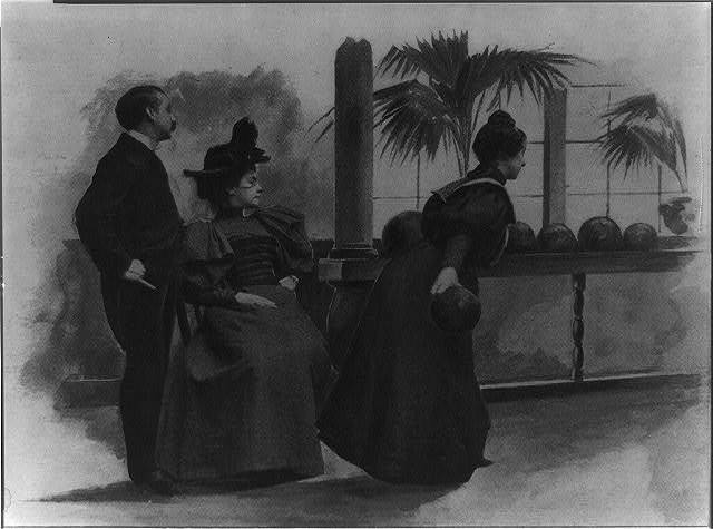 Atlantic City at Easter-tide - in the bowling alley [woman bowling as man and another woman watch]