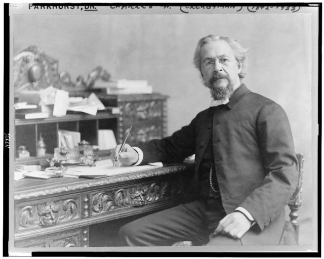 [Charles H. Parkhurst, three-quarter length portrait, seated at desk, facing slightly left, with pen in his hand]