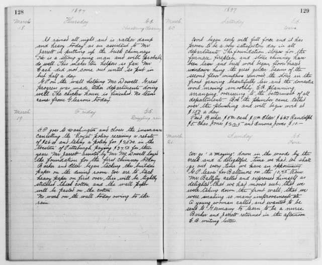 Clara Barton Papers: Diaries and Journals: Diarists other than Barton; Staff diaries; 1896, July 17-1897, June 23 (no. 5)