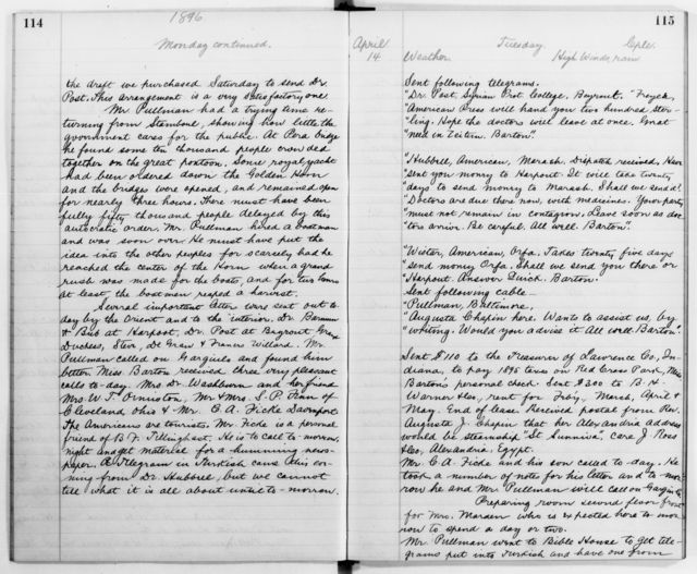 Clara Barton Papers: Diaries and Journals: Diarists other than Barton; Staff diaries; 1896, Jan. 2-July 16 (no. 4)