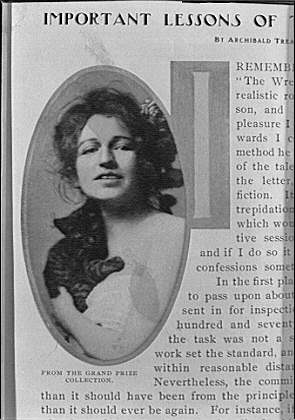 Clipping from an article on photography, including an image by Arnold Genthe of a woman holding a kitten