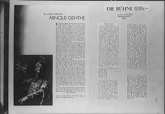 Clippings of an article on Arnold Genthe by Joseph Gregor and an article from Die Bühne