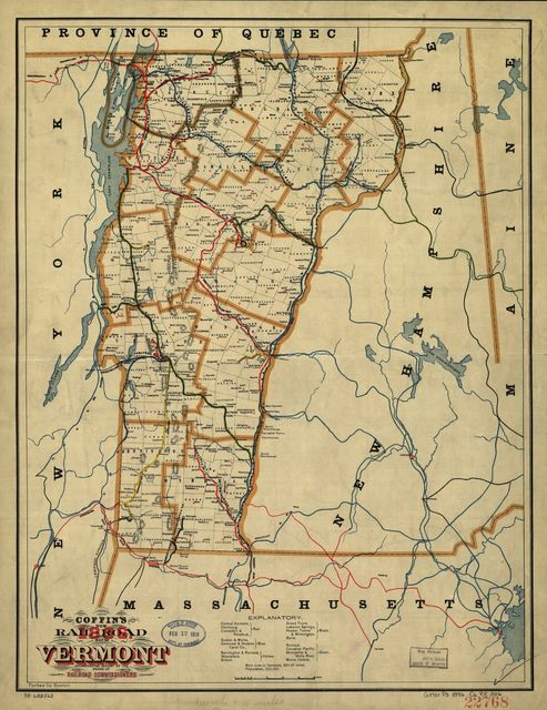 Coffin's new rail-road map of Vermont accompanying report of the board of railroad commissioners, 1896.