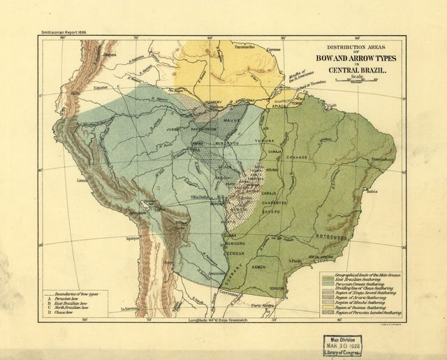 Distribution areas for bow and arrow types in central Brazil.