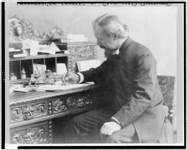 [Dr. Charles H. Parkhurst, three-quarter length portrait, seated at desk, with pen in hand, facing left]