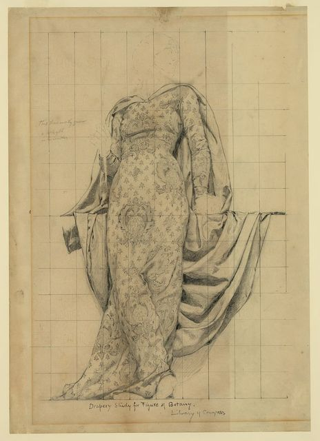 Drapery study for figure of Botany Library of Congress