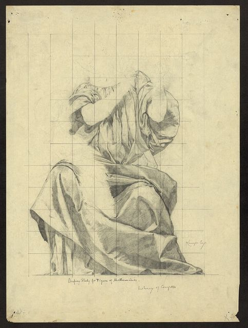 Drapery study for figure of Mathematics Library of Congress