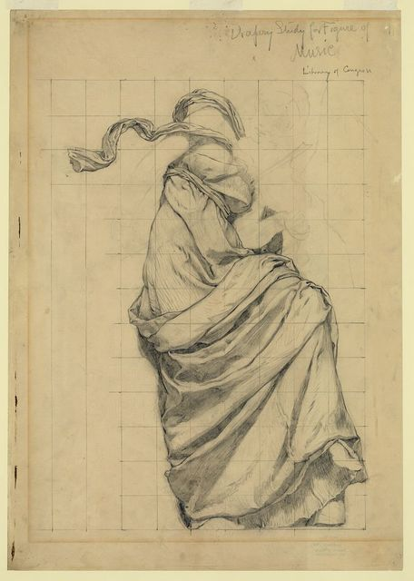 Drapery study for figure of Music Library of Congress