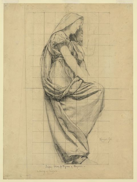 Drapery study for figure of Physics