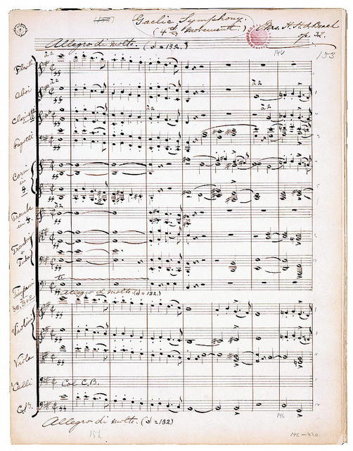 Gaelic Symphony (first  page of the fourth movement).