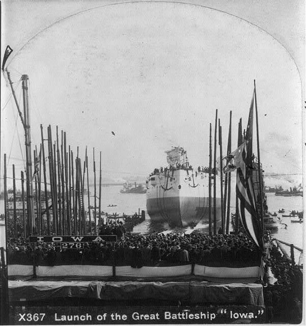 Launch of the great battleship IOWA