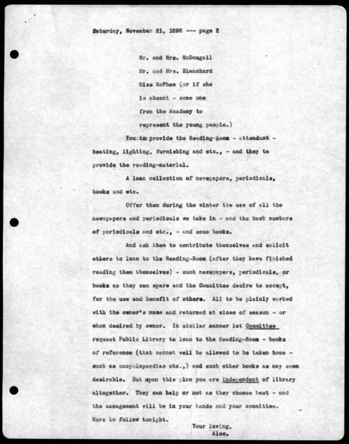 Letter from Alexander Graham Bell to Mabel Hubbard Bell, November 21, 1896