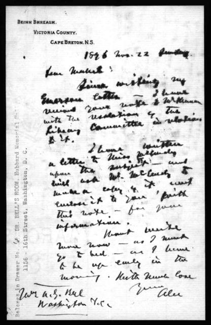 Letter from Alexander Graham Bell to Mabel Hubbard Bell, November 22, 1896