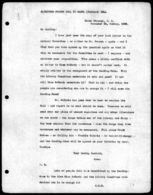 Letter from Alexander Graham Bell to Mabel Hubbard Bell, November 23, 1896