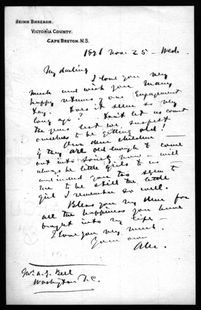 Letter from Alexander Graham Bell to Mabel Hubbard Bell, November 25, 1896